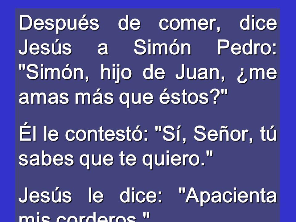Después de comer, dice Jesús a Simón Pedro: Simón, hijo de Juan, ¿me amas más que éstos