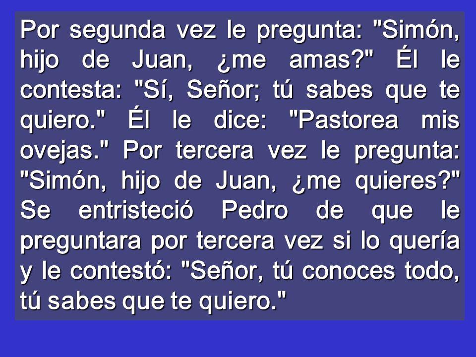 Por segunda vez le pregunta: Simón, hijo de Juan, ¿me amas