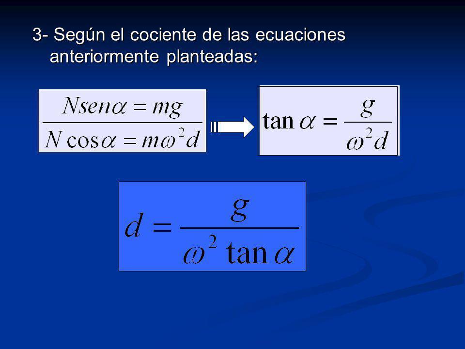 3- Según el cociente de las ecuaciones anteriormente planteadas: