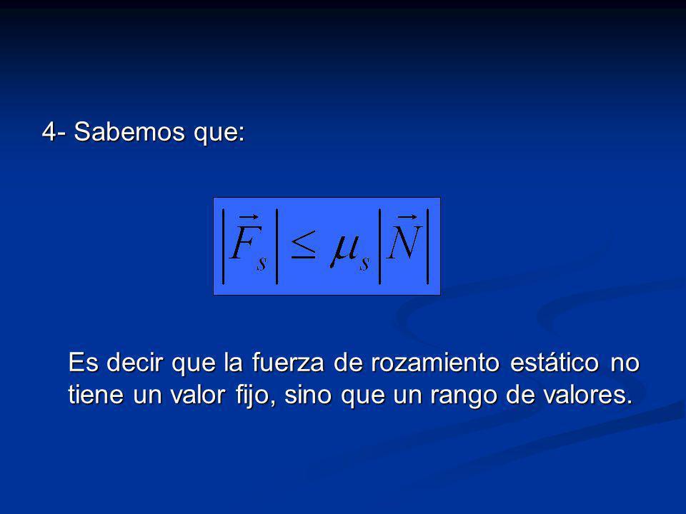 4- Sabemos que: Es decir que la fuerza de rozamiento estático no tiene un valor fijo, sino que un rango de valores.
