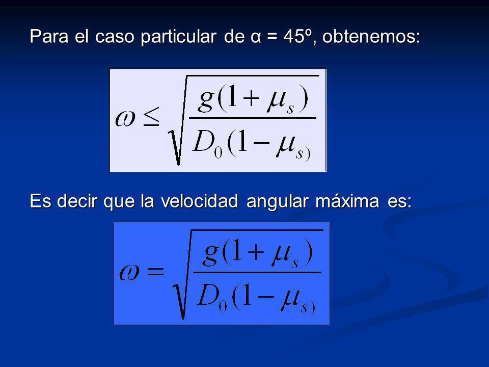 Para el caso particular de α = 45º, obtenemos: