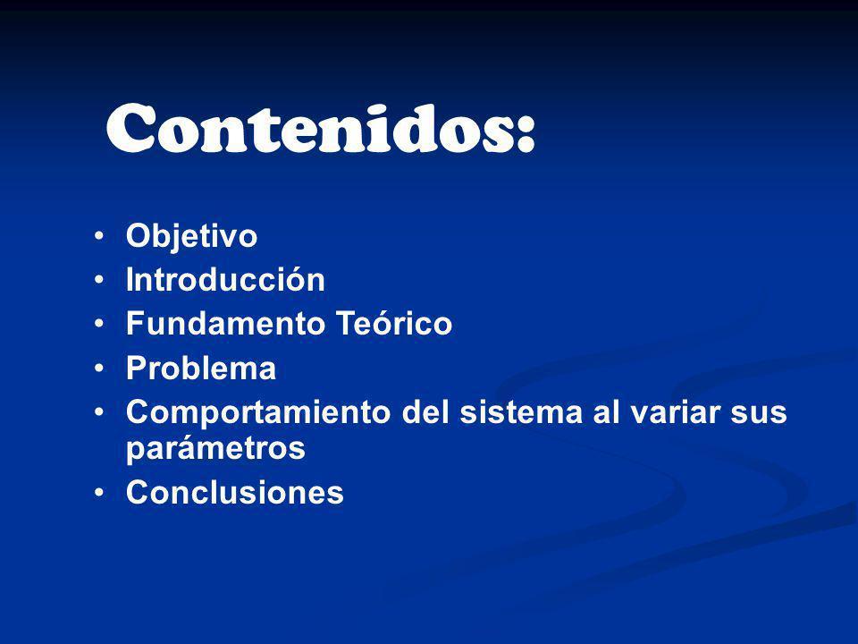 Contenidos: Objetivo Introducción Fundamento Teórico Problema