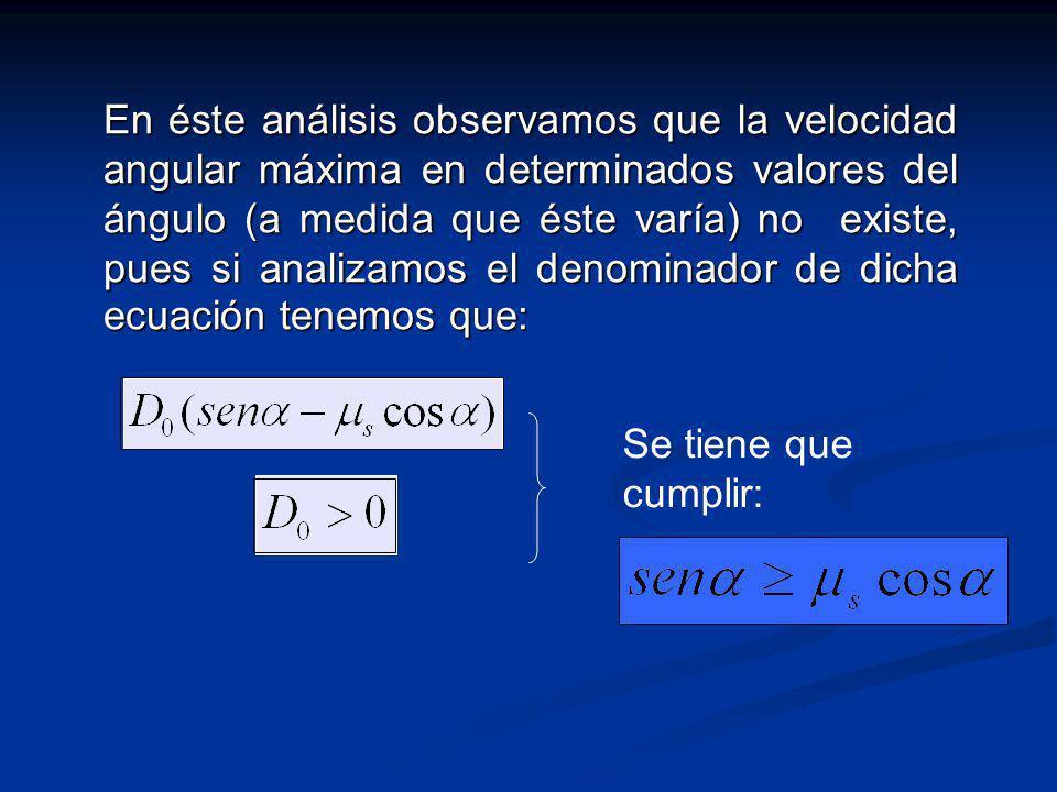 En éste análisis observamos que la velocidad angular máxima en determinados valores del ángulo (a medida que éste varía) no existe, pues si analizamos el denominador de dicha ecuación tenemos que: