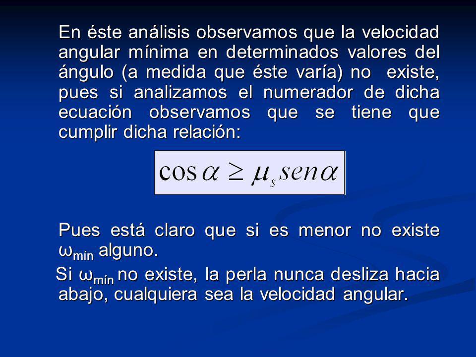 En éste análisis observamos que la velocidad angular mínima en determinados valores del ángulo (a medida que éste varía) no existe, pues si analizamos el numerador de dicha ecuación observamos que se tiene que cumplir dicha relación: