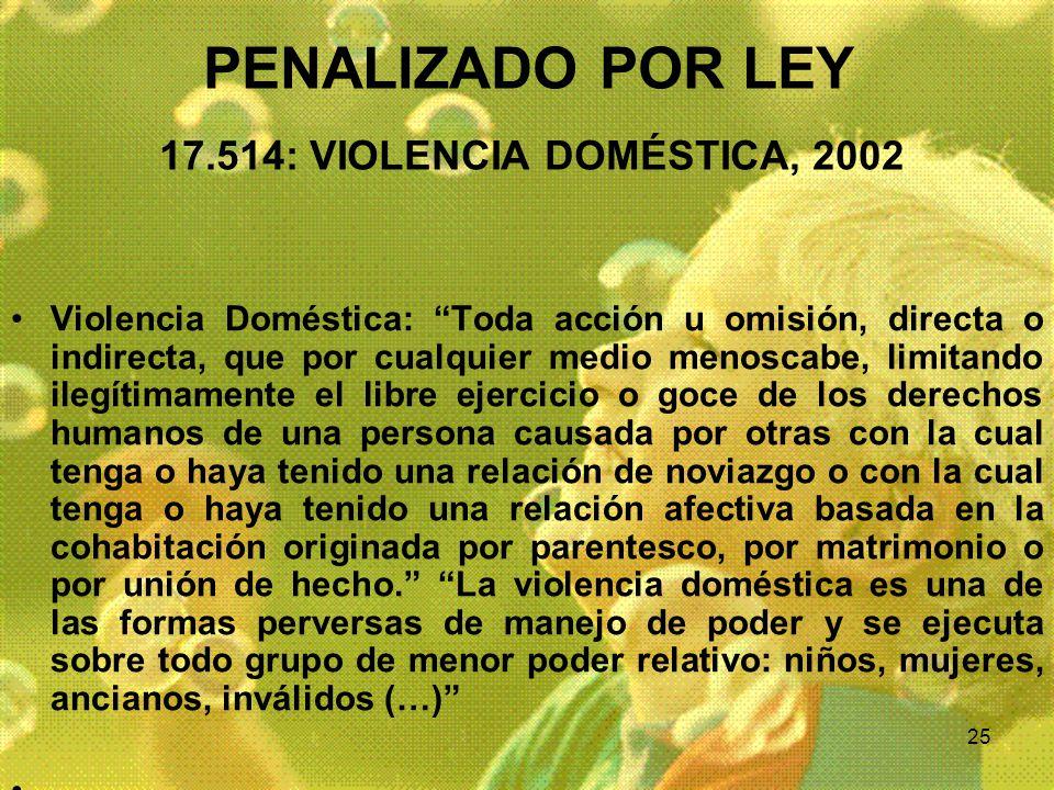 PENALIZADO POR LEY 17.514: VIOLENCIA DOMÉSTICA, 2002