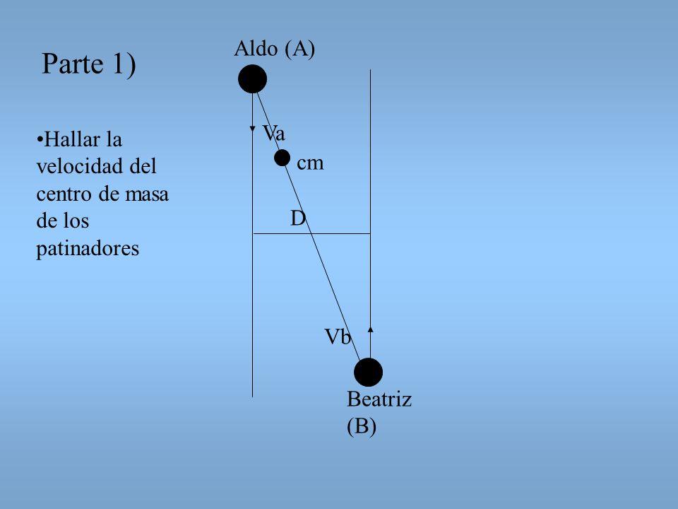 Aldo (A) Parte 1) Va Hallar la velocidad del centro de masa de los patinadores cm D Vb Beatriz (B)
