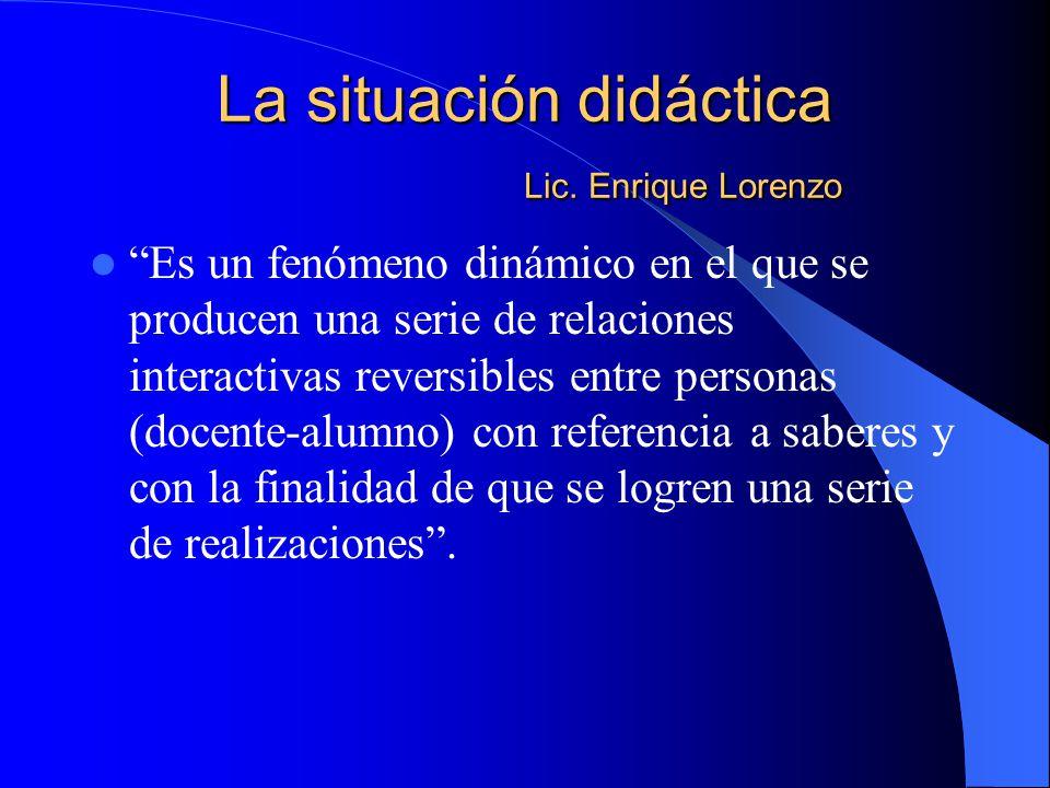 La situación didáctica Lic. Enrique Lorenzo