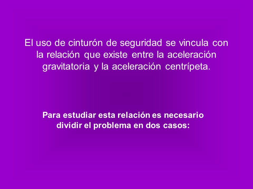 El uso de cinturón de seguridad se vincula con la relación que existe entre la aceleración gravitatoria y la aceleración centrípeta.