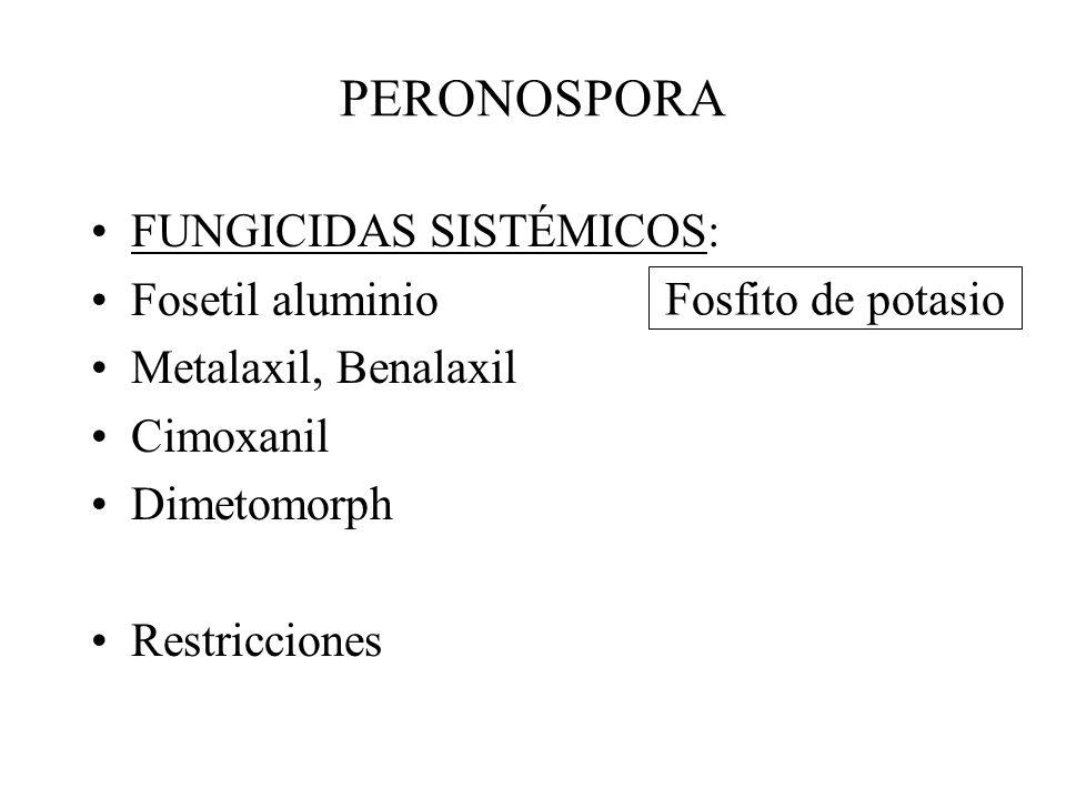 PERONOSPORA FUNGICIDAS SISTÉMICOS: Fosetil aluminio
