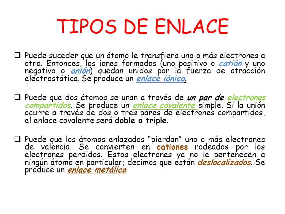 TIPOS DE ENLACE