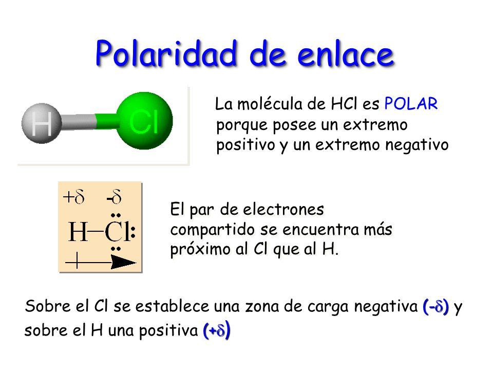 Polaridad de enlace La molécula de HCl es POLAR porque posee un extremo positivo y un extremo negativo.