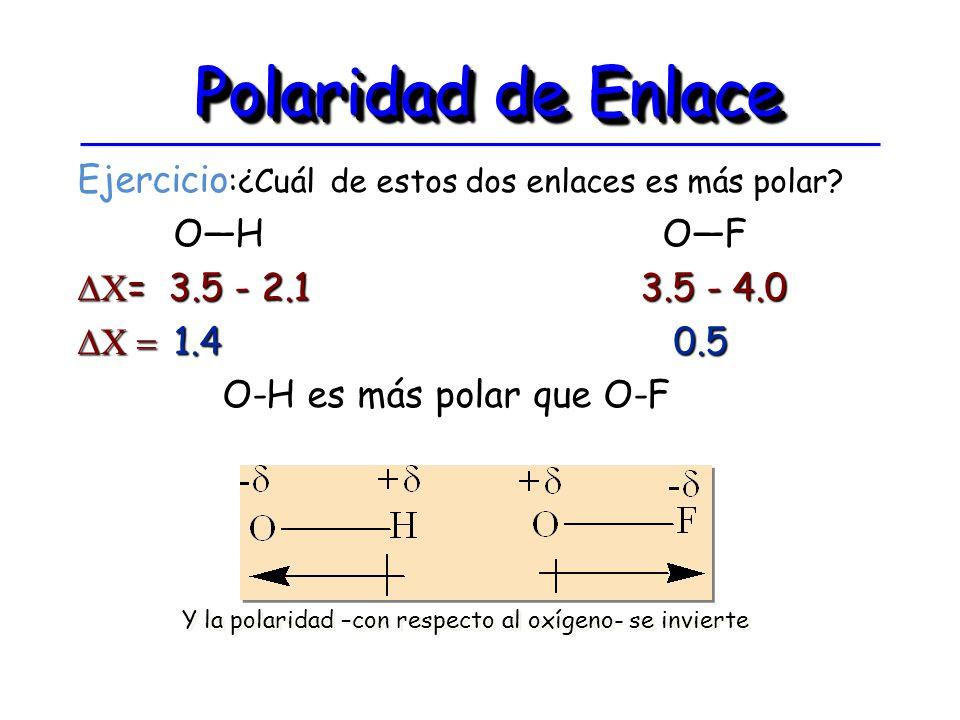 Polaridad de Enlace Ejercicio:¿Cuál de estos dos enlaces es más polar