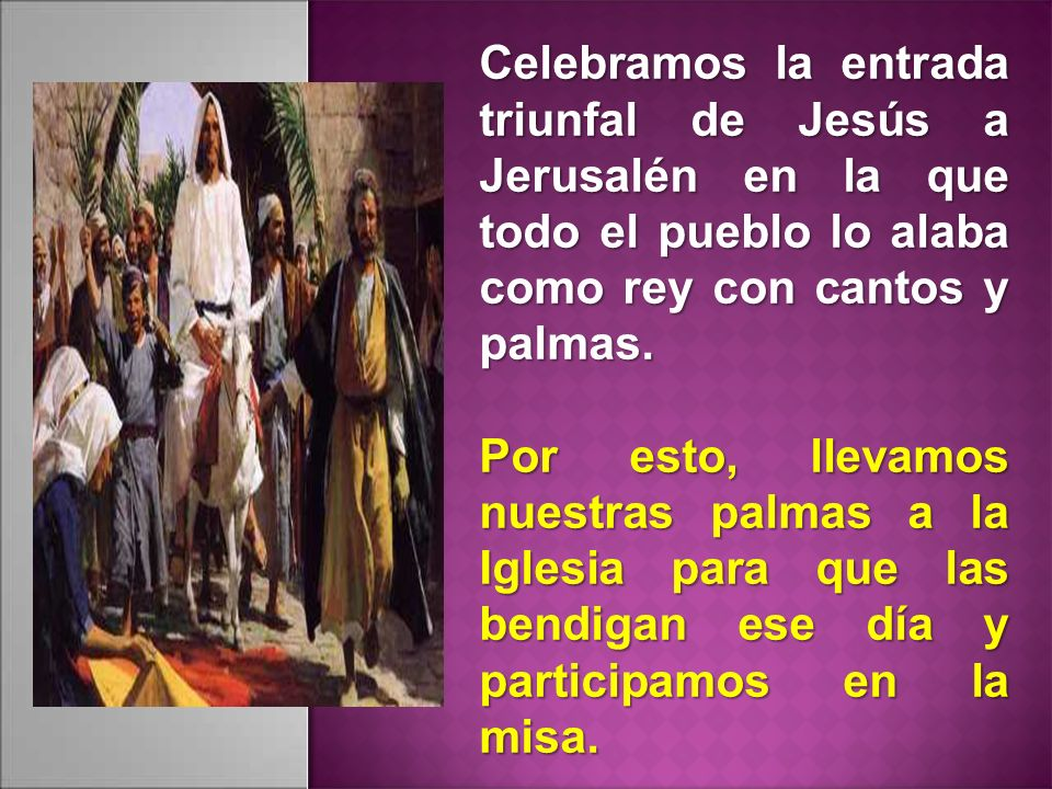 Celebramos la entrada triunfal de Jesús a Jerusalén en la que todo el pueblo lo alaba como rey con cantos y palmas.