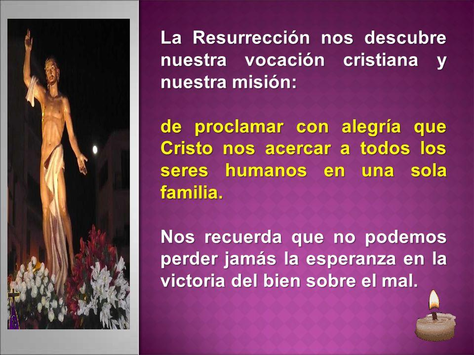La Resurrección nos descubre nuestra vocación cristiana y nuestra misión: