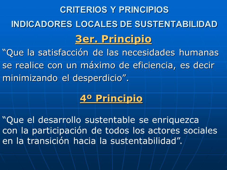 CRITERIOS Y PRINCIPIOS INDICADORES LOCALES DE SUSTENTABILIDAD