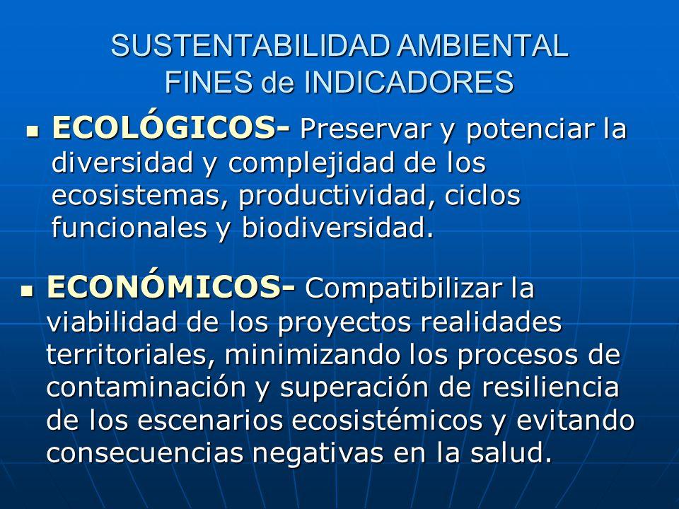 SUSTENTABILIDAD AMBIENTAL FINES de INDICADORES