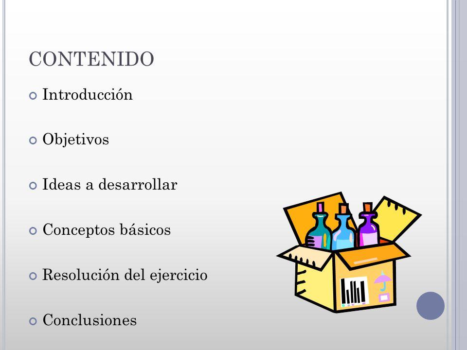 CONTENIDO Introducción Objetivos Ideas a desarrollar Conceptos básicos