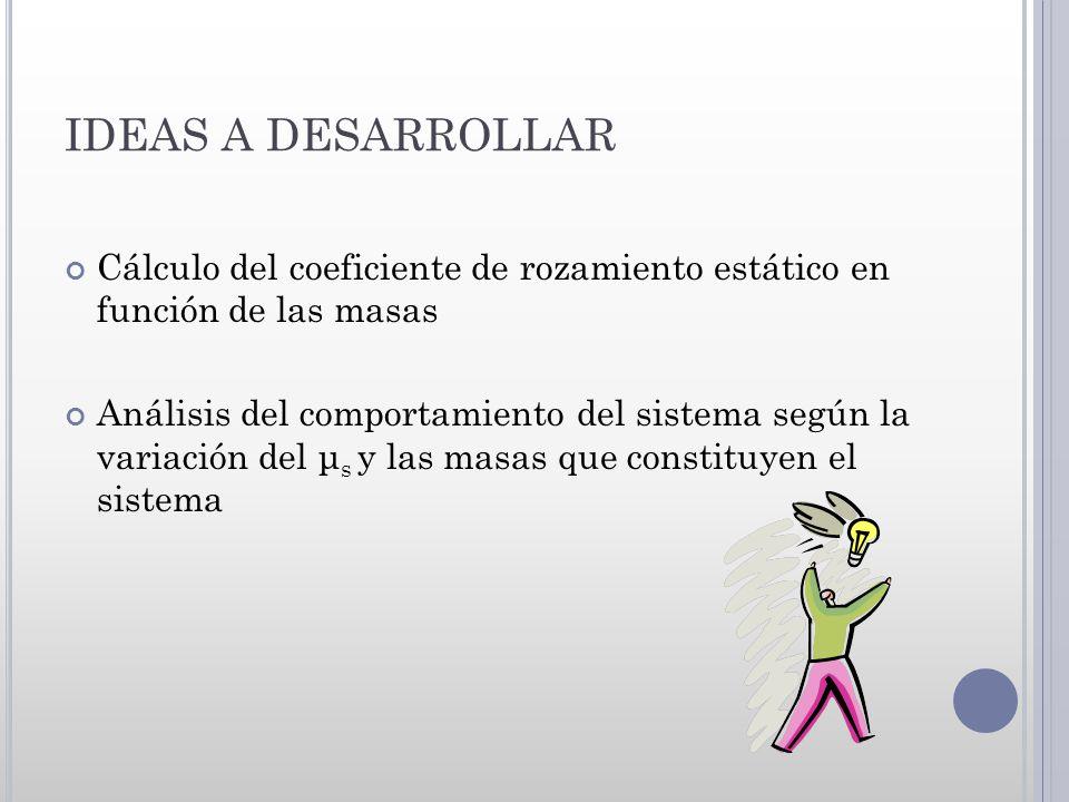 IDEAS A DESARROLLAR Cálculo del coeficiente de rozamiento estático en función de las masas.