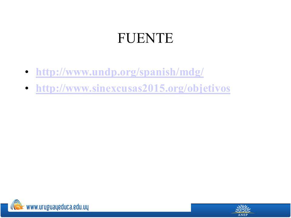 FUENTE http://www.undp.org/spanish/mdg/