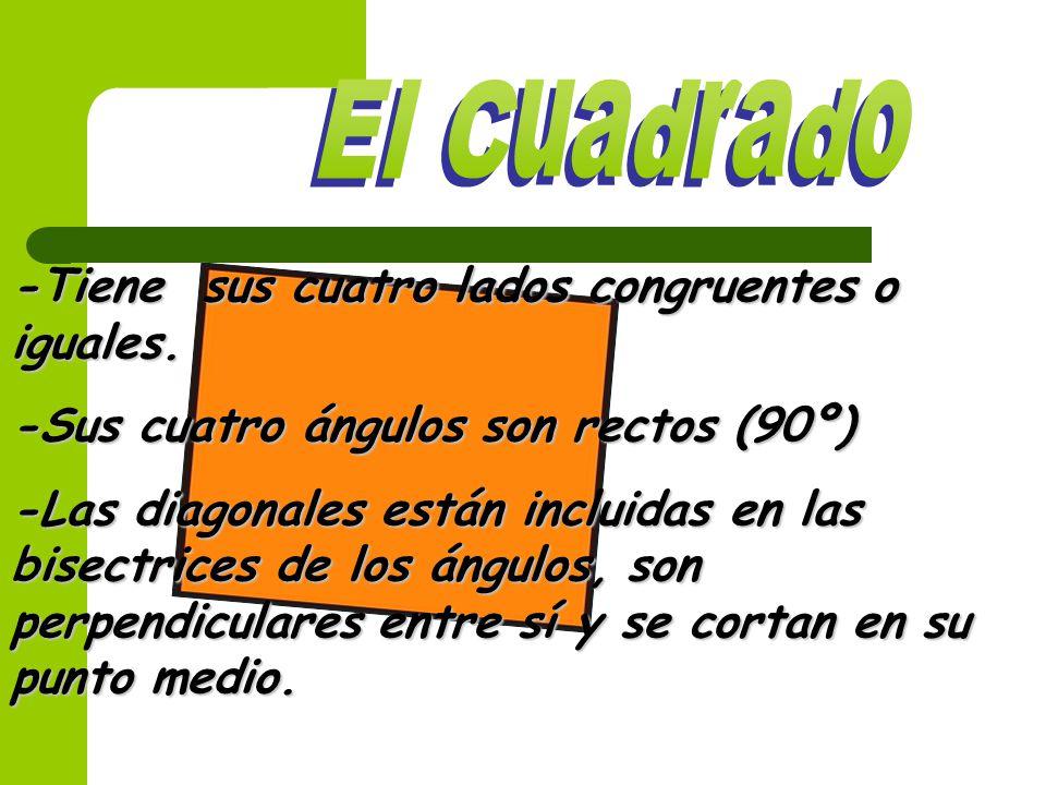 El Cuadrado -Tiene sus cuatro lados congruentes o iguales.
