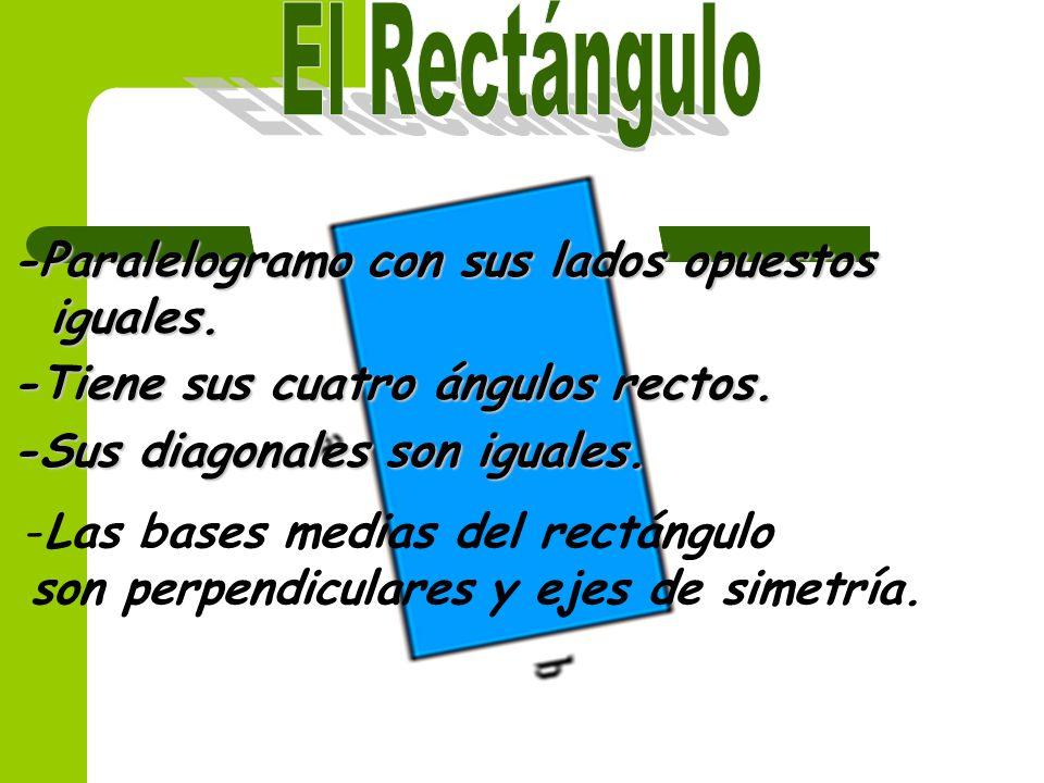 El Rectángulo -Paralelogramo con sus lados opuestos iguales.