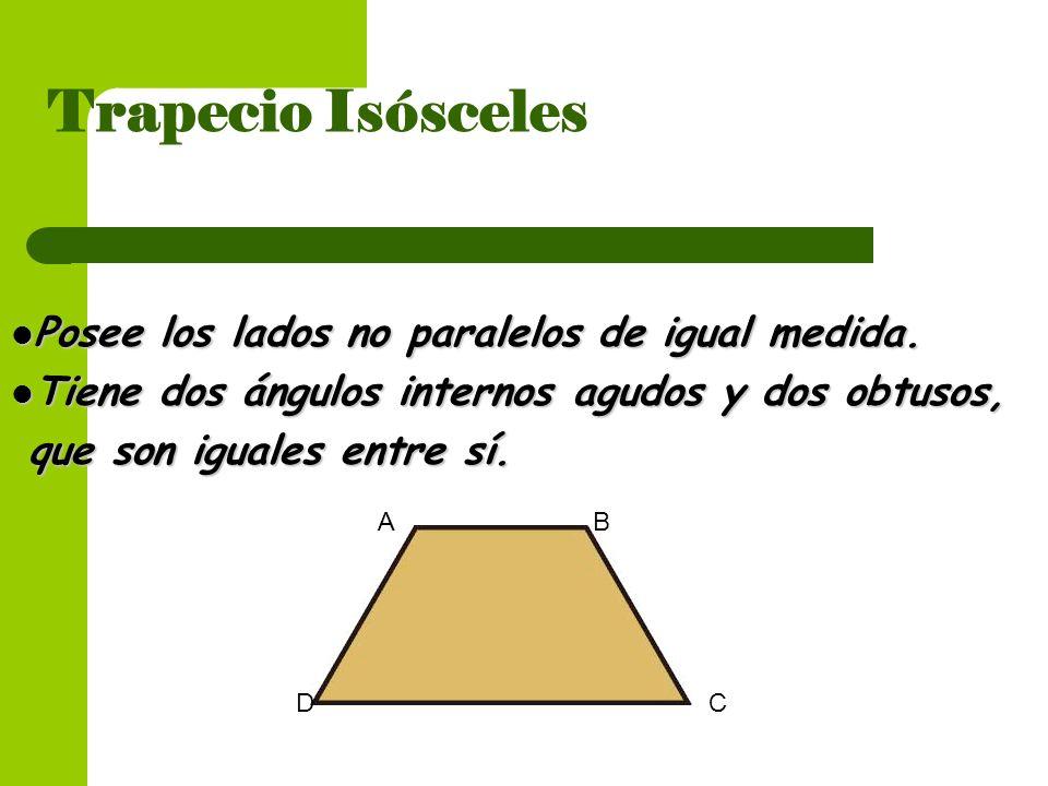 Trapecio Isósceles Posee los lados no paralelos de igual medida.