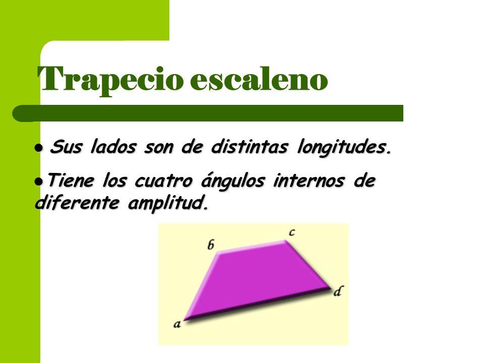 Trapecio escaleno Sus lados son de distintas longitudes.