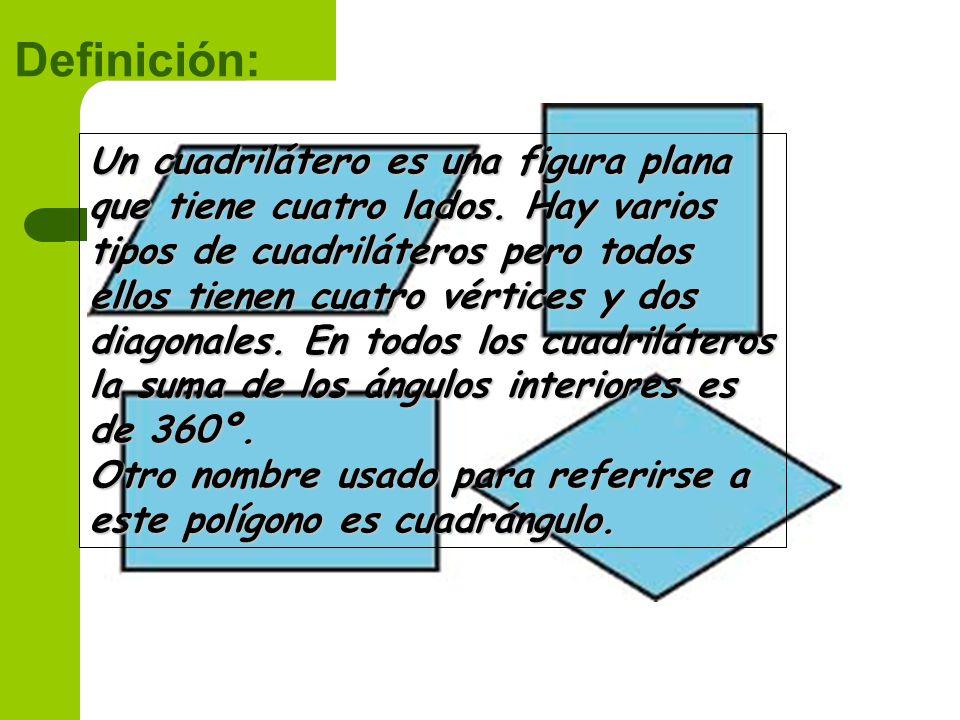 Definición: Un cuadrilátero es una figura plana