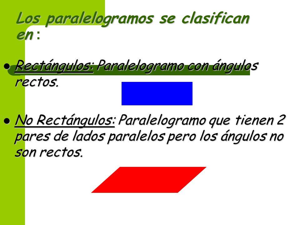 Los paralelogramos se clasifican en :