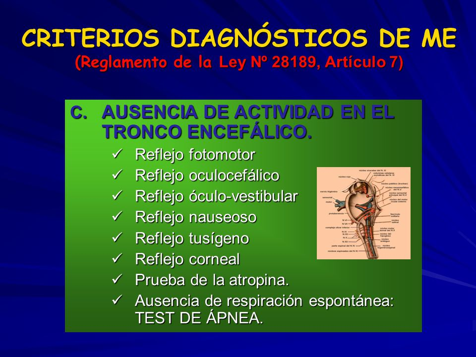 CRITERIOS DIAGNÓSTICOS DE ME (Reglamento de la Ley Nº 28189, Artículo 7)