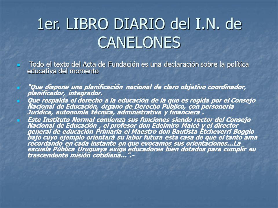 1er. LIBRO DIARIO del I.N. de CANELONES
