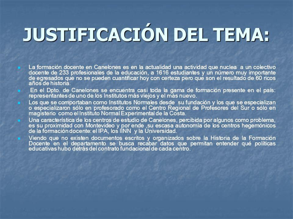 JUSTIFICACIÓN DEL TEMA: