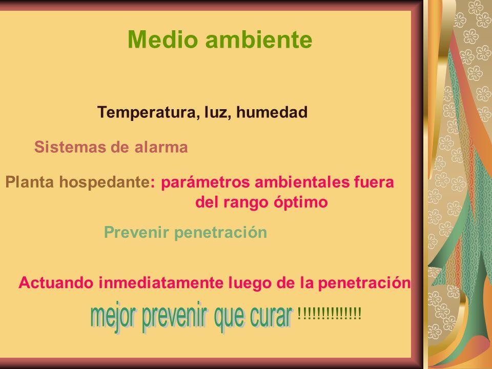 Medio ambiente Temperatura, luz, humedad Sistemas de alarma