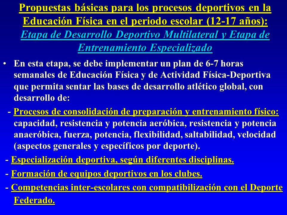 Propuestas básicas para los procesos deportivos en la Educación Física en el periodo escolar (12-17 años): Etapa de Desarrollo Deportivo Multilateral y Etapa de Entrenamiento Especializado