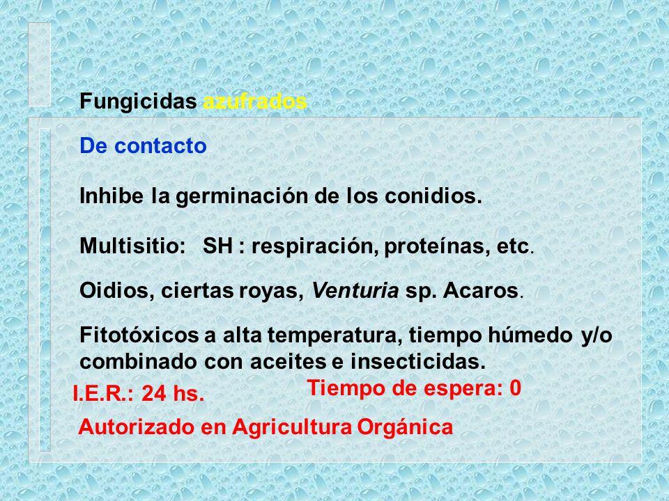 Fungicidas azufrados De contacto. Inhibe la germinación de los conidios. Multisitio: SH : respiración, proteínas, etc.