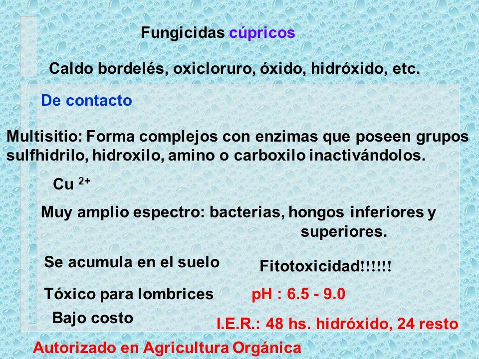 Fungicidas cúpricos Caldo bordelés, oxicloruro, óxido, hidróxido, etc. De contacto. Multisitio: Forma complejos con enzimas que poseen grupos.
