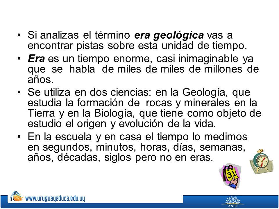 Si analizas el término era geológica vas a encontrar pistas sobre esta unidad de tiempo.