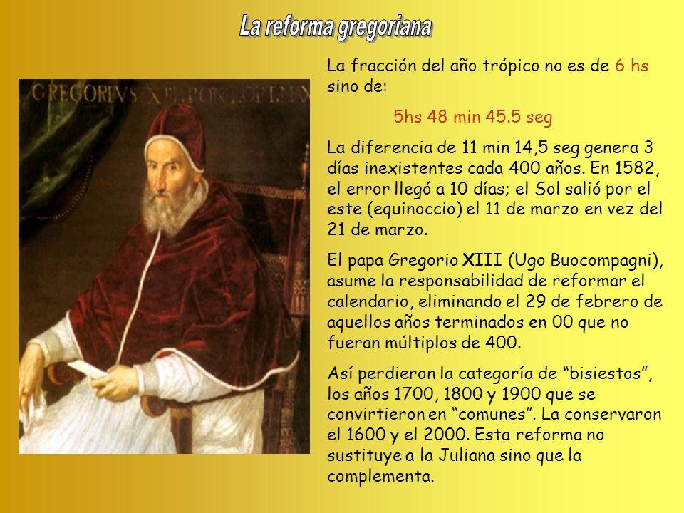 La reforma gregoriana La fracción del año trópico no es de 6 hs sino de: 5hs 48 min 45.5 seg.