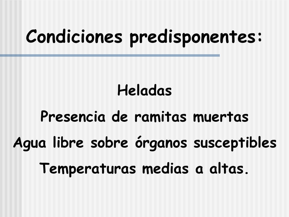 Condiciones predisponentes: