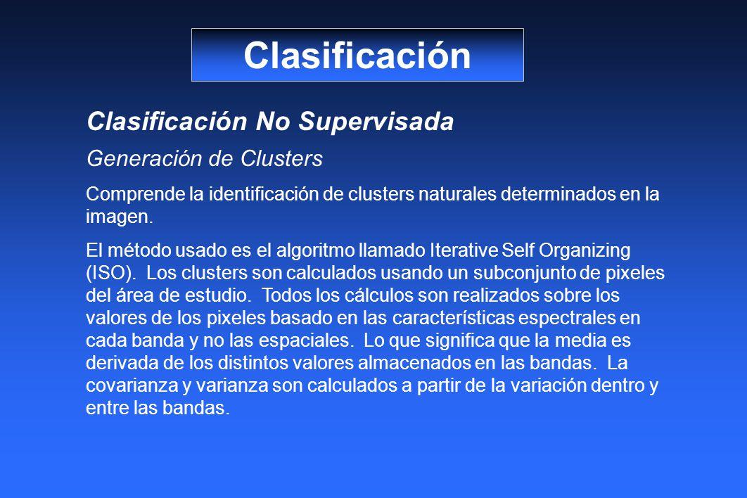 Clasificación Clasificación No Supervisada Generación de Clusters