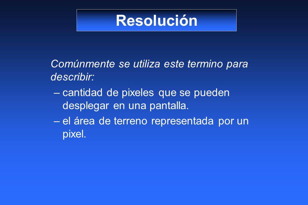 Resolución Comúnmente se utiliza este termino para describir: cantidad de pixeles que se pueden desplegar en una pantalla.