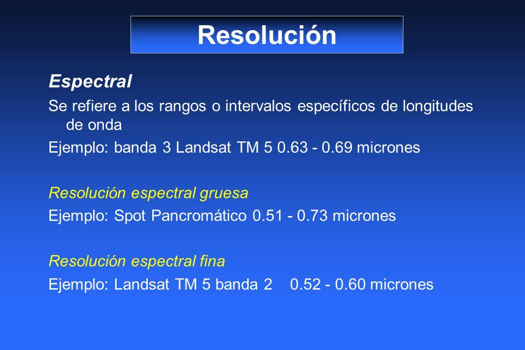 Resolución Espectral. Se refiere a los rangos o intervalos específicos de longitudes de onda. Ejemplo: banda 3 Landsat TM 5 0.63 - 0.69 micrones.