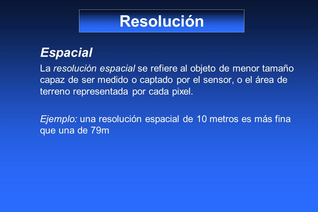 Resolución Espacial.