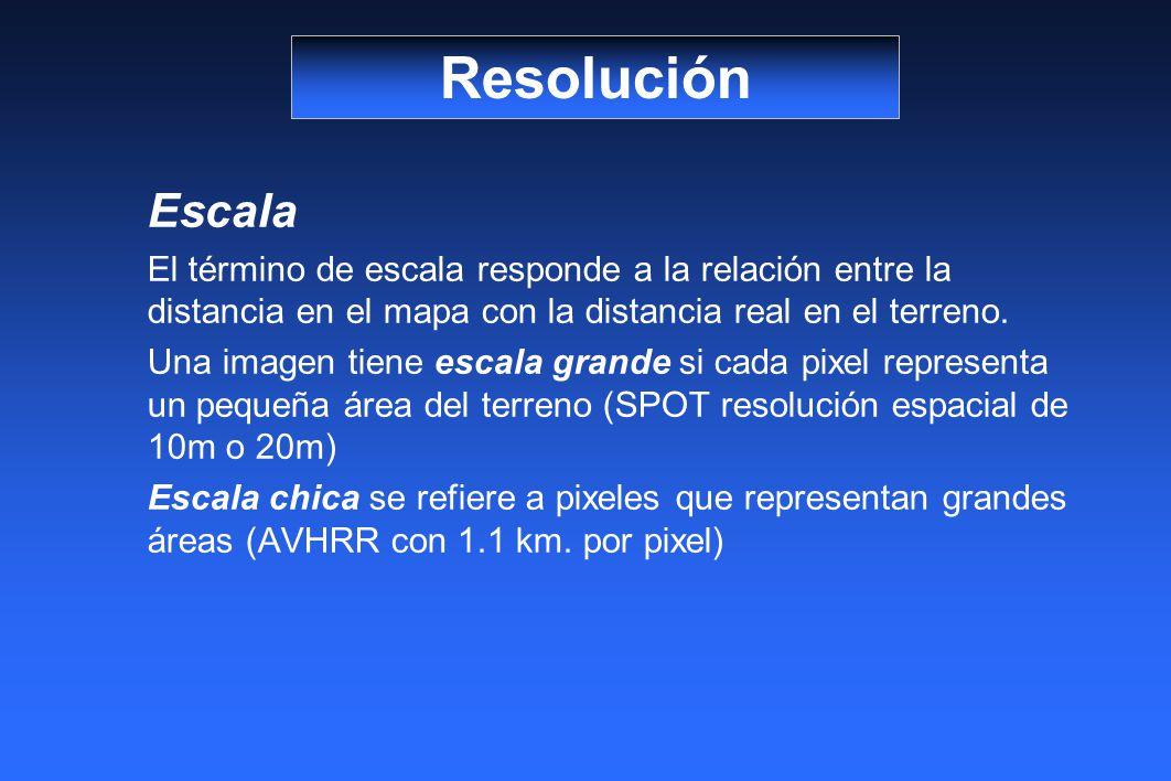Resolución Escala. El término de escala responde a la relación entre la distancia en el mapa con la distancia real en el terreno.