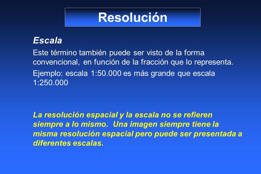Resolución Escala. Este término también puede ser visto de la forma convencional, en función de la fracción que lo representa.