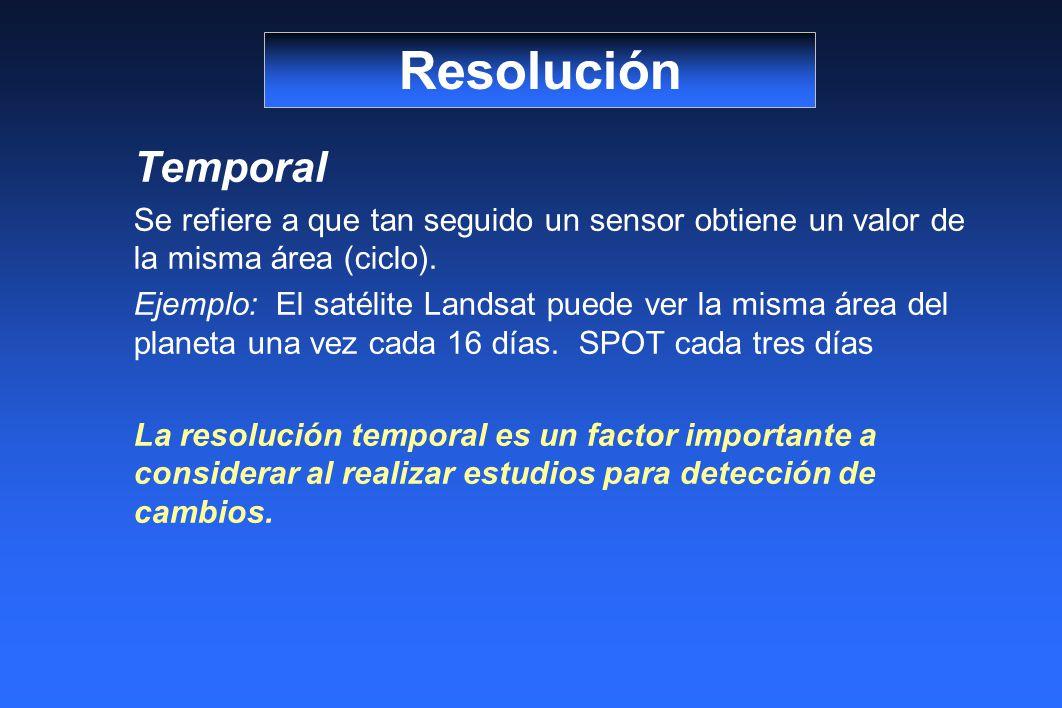 Resolución Temporal. Se refiere a que tan seguido un sensor obtiene un valor de la misma área (ciclo).
