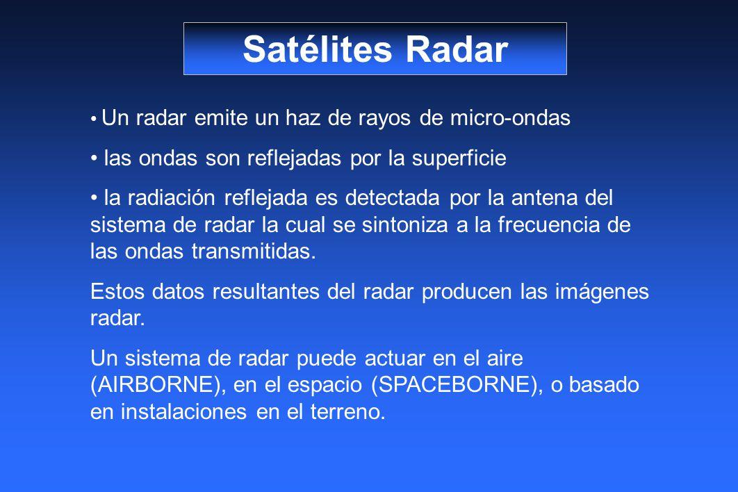 Satélites Radar las ondas son reflejadas por la superficie