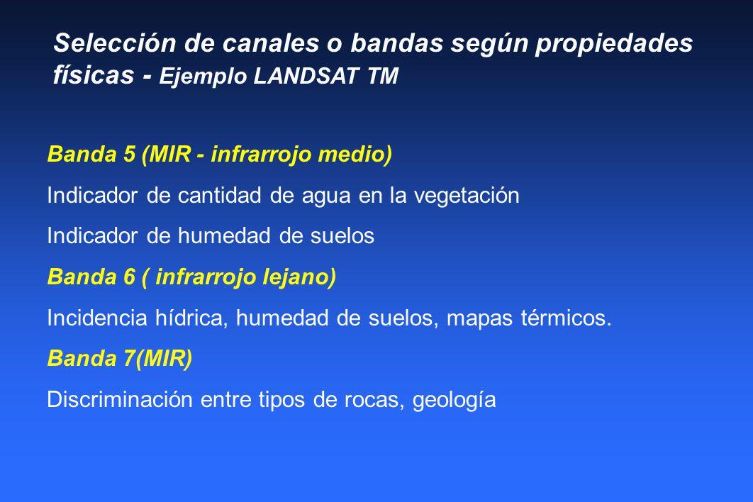 Selección de canales o bandas según propiedades físicas - Ejemplo LANDSAT TM