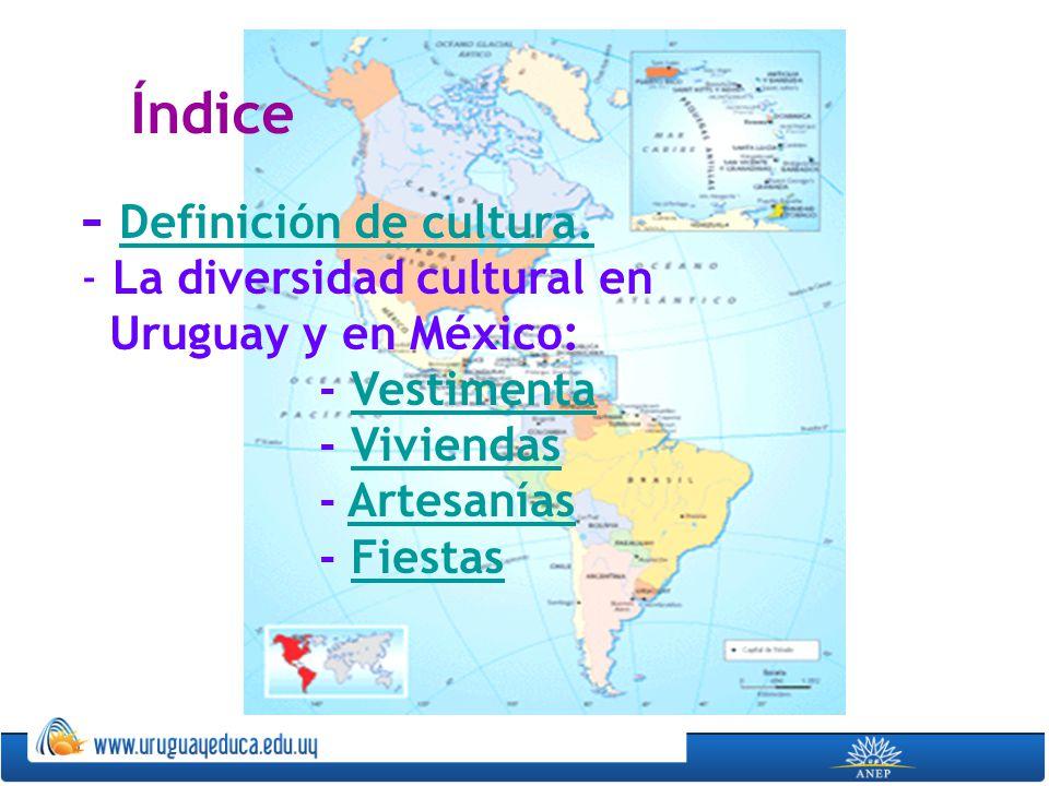 Índice - Definición de cultura. La diversidad cultural en