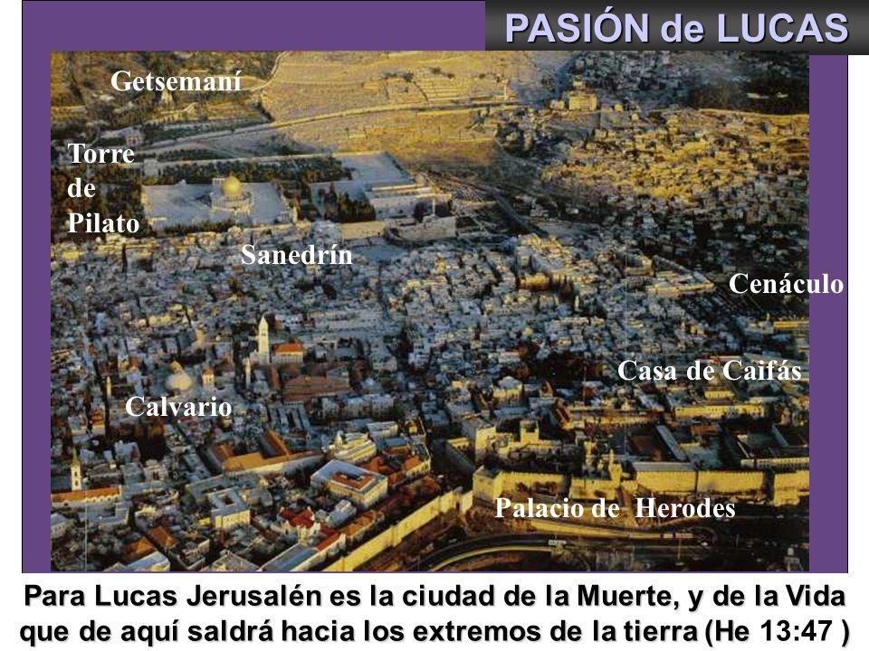 PASIÓN de LUCAS Getsemaní Torre de Pilato Getsemaní Sanedrín Cenáculo